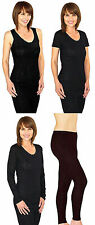 Ladies Thermals Underwear Short Sleeve Long Sleeved Vests Long Janes Skiing 8-22