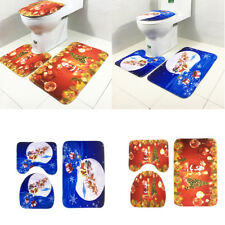 3pcs Toilet Seat Cover Set Non Slip Bathroom Rug Door Mat for Christmas Decor