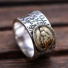Valknut Solid 925 Sterling Silver Virgin Mary Ring Engraved Script Jesus Christ