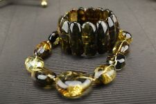 Natural Baltic Amber Necklace Bracelet Set Round Clear Green Color SIlver Clasp