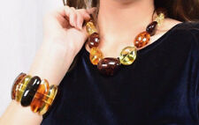 Genuine Natural Baltic Amber Necklace Bracelet Set Multicolored Polished Beads