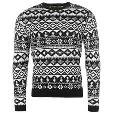 MENS NAVY BLUE STAR SNOWFLAKE FAIRISLE XMAS CHRISTMAS KNIT KNITTED JUMPER