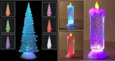 SWIRLING LED COLOUR CHANGING FLAMELESS GLITTER TREE XMAS FLICKERING CANDLE LIGHT