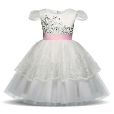 White Sparkly Sequin Princess Flowergirl Girls Dress Wedding Party Kids Clothes