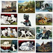 Victorian Animals cats dogs birds horses  Home decor A4 poster prints