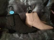 Ladies Black and Tan Ankle Boots Low Mid Block Heels  Shoes Sizes 3-8 Primark