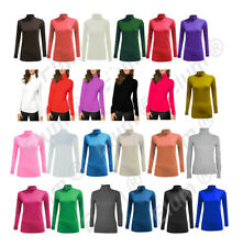 LADIES LONG SLEEVES POLO NECK ROLL NECK TOP WOMENS TURTLE NECK PLAIN JUMPER 8-26