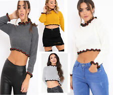 New Ladies Womens Cropped Knitted Round Neck Ruffle Frill Hem Stripe Jumper Top