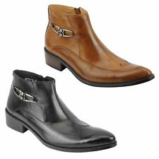 New Mens Vintage Black Tan Real Leather Zip Ankle Boots Smart Retro Pointy Shoes