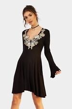 Ladies / Womens Black Embroidery Detail Long Sleeve Swing Dress Clothing LOTD
