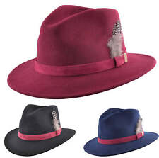69cc310c1f4 Mens Ladies 100% Wool Felt Crushable Fedora Trilby Hat Feather Black Navy  Wine