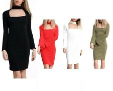 Womens Ladies Knitted Bubble Fabric Choker Square Neck Flute Sleeves Midi Dress
