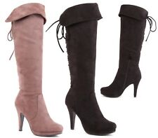 LADIES WOMENS KNEE HIGH STILETTO HEEL PLATFORM ZIP UP LACE UP BOOTS SHOES SIZE