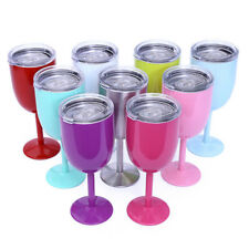 Double Wall Goblet Wine Tumbler Cup Rambler Champagne Coffee Cup 9 Colors