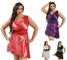 long satin Nuisette sexy robe dentelle buste grande taille Pyjama 8 - 26