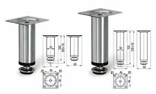 2 x Adjustable Plinth Legs in Chrome for Furniture Sofa Cabinet 100mm or 150mm