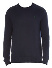 Ralph Lauren Jumper Hunter Navy Knitwear Green Logo Crew Neck Cashlike BNWT
