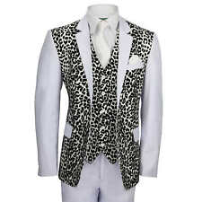 Mens White 3 Piece Suit Black Leopard Rosette Print Slim Fit Blazer Dress Party