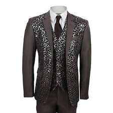 Mens Brown 3 Piece Suit Black Leopard Rosette Print Slim Fit Blazer Dress Party