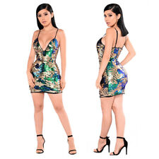 Women Strappy V Neck Sequins Bodycon Evening Party Cocktail Clubwear Mini Dress