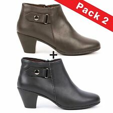 Pack Botines Casual Mujer Negro y Marrón Daily Star-1467