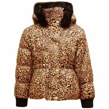 GIRLS COAT LEOPARD FUR HOODED WINTER PADDED QUILTED KIDS PUFFA JACKET 2-7 YEARS