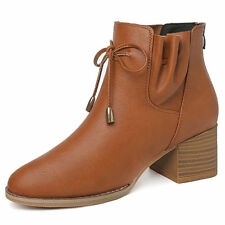 Girls Womens PU Leather Round Toe Platform Block Heel Ankle Boots Shoes Zip