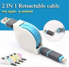 Retractable Micro USB Dual Connector Data Charge Cable For iPhone Samsung Sony