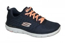 LADIES SKECHERS AIR COOLED MEMORY FOAM BREAK FREE TRAINERS IN CHARCOAL AND CORAL