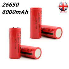 2/4 PCS 26650 Rechargeable Li-ion Battery 3.7V 6000mAh for Flashlight Torch UK