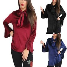 New Ladies Velvet Loose Blouse OL Tie Neck Tops Long Sleeve Casual Women Dress