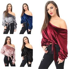 New Ladies Crush Velvet Off Shoulder Tie Tops Long Sleeve Baggy Oversized Dress
