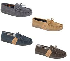 New Mens Gents Real Suede Slip On Moccasin Tartan Slippers Loafer BOXED UK 7-12