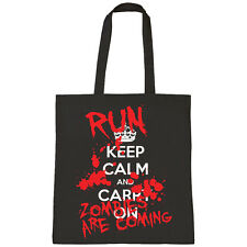 KEEP CALM AND CARRY ON Run Zombie Dolcetto o scherzetto Halloween SHOPPER
