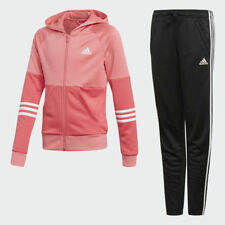 New Adidas Girls YG Hooded Track Suit Real Pink / White / Black Age 7 to 12 Yrs