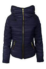 New Ladies Quilted Padded Puffer Bubble Fur Collar Warm Womens Jacket Coat UK