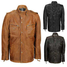Mens Soft Real Leather Military Jacket Vintage Washed Smart Casual Field Coat