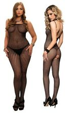 Leg Avenue, Seamless Black Crocheted Net Spaghetti Strap Crotchless Bodystocking