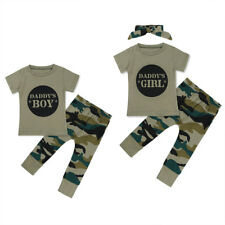 Daddy's Baby Boy Girl Camo T-shirt Tops Long Pants Outfits Set Clothes Toddler