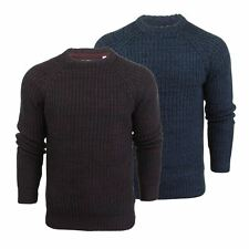 Brave Soul Maximus Mens Jumper Twist Cable Kintted Crew Neck Sweater