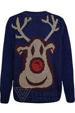 Mens Rusty Reindeer Christmas Jumper Top Xmas Navy Blue Knitted Gift Medium