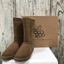 NEW BOO ROO Brown Suede Sheepskin Boots Shearling Wool Size UK 5 6 7 382162