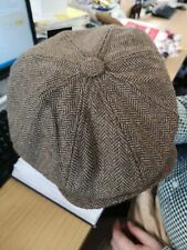 Light Brown 8 Panel Traditional Style Herringbone Tweed Cap Newsboy Gatsby