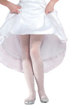 Girls Tights Hosiery Kids White Patterned LIZA Pantyhose by Gabriella 4-12 years
