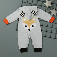 Infant Newborn Unisex Baby Long Sleeve Romper Jumpsuit Cotton Hooded Outfits