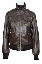 3758 Ladies Bomber Retro Fitted waist Length Brown Lambskin Real Leather jackets