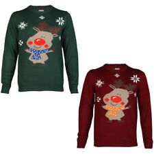 MENS MERRY XMAS RUDOLPH KNITTED NOVELTY CHRISTMAS DESIGN JUMPER TOP SIZE S-3XL