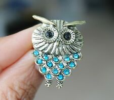 Ladies Owl Necklace with Long Chain Rhine Crystal Beads Stones Pendant Jewellery