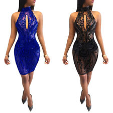 Women Sequins Halter Banckess Bodycon Evening Party Cocktail Club Mini Dress