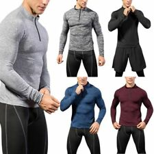 Men Quick Dry Long Sleeve T-Shirts Solid Tight Sport Running Gym Fitness Top Tee